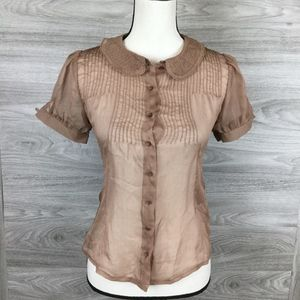 Lux Brown Sheer Button Up Shirt